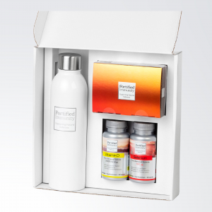 Fortified Immunity, The Essentials, Gift box, open, displaying products, positioned beside a limited edition Fortified Immunity reusable bottle.