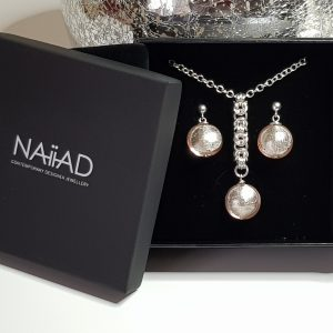 Handmade Sterling silver Byzantine chainmail and pink Murano glass necklace and earrings gift set