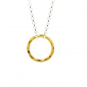 Handmade contemporary large 24k yellow gold vermeil hammered ring necklace