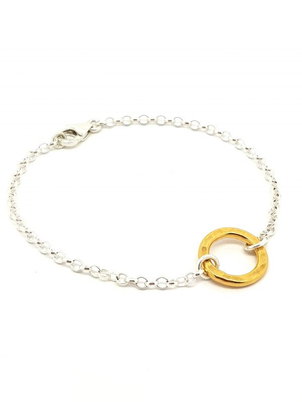 Handmade bracelet with a small yellow gold Vermeil flat hammered ring