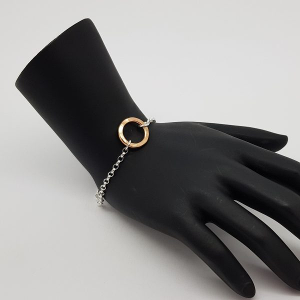 Handmade bracelet with a small rose gold Vermeil flat hammered ring