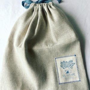 A pretty produce bag made from cotton and linen blend