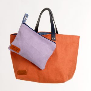 Coral Linen Travel Bag with pouch by Valerie Taylor
