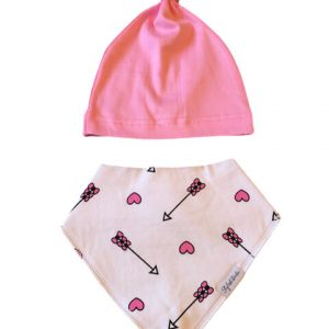 Arrows & Heart Dribble Proof Baby Bib and Knotted Beanie Hat designed by Stylish Baba