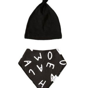 Black Alphabet Secure Clip Bib & Beanie Knotted Hat designed by Stylish Baba
