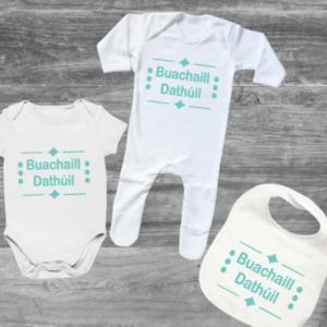 Buachaill Dathúil As Gaeilge Baby Set designed by All Tied Up