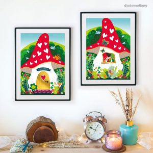 Gnomes Home - Signed Print designed by Diademadisara