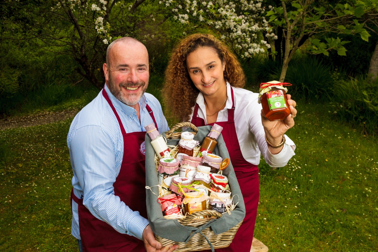 Owners of Irish brand Gran Gran Foods holding basket of condiments