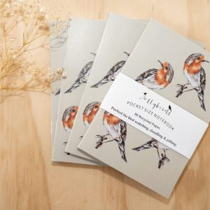Hand Painted Robin A6 Notebook designed by Dollybirds Art