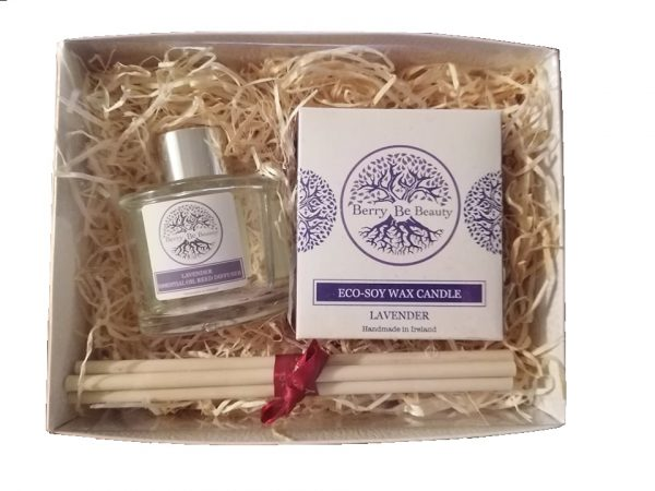 Lavender Essential Oil Candle and Reed Diffuser Gift Set designed by Berry Be Beauty