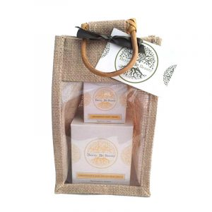 Lemongrass & Basil Essential Oil Candle and Hand Cream Gift Set designed by Berry Be Beauty