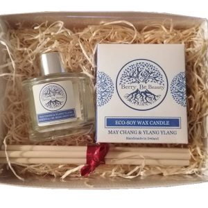 May Chang & Ylang Ylang Essential Oil Candle and Reed Diffuser Gift Set designed by Berry Be Beauty