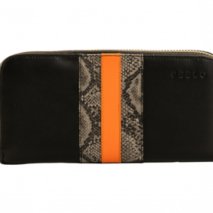 PEELO Continental Zip Wallet in Black and Orange Leather designed by PEELO