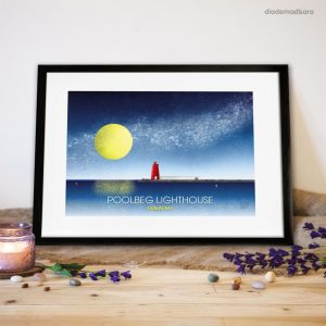 Poolbeg Lighthouse Dublin Bay - Signed Print designed by Diademadisara