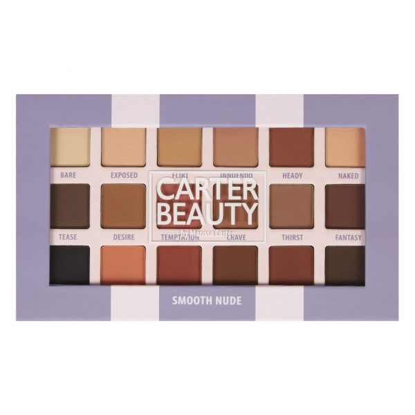 SMOOTH NUDE 18-SHADE EYESHADOW PALETTE designed by Carter Beauty