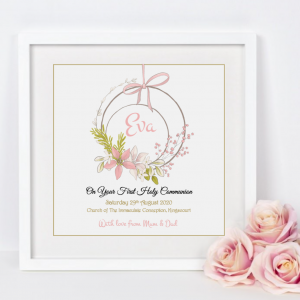 As Cute as a Button Personalised Frames Prints communion