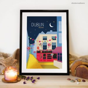 The Temple Bar Dublin - Signed Print designed by Diademadisara