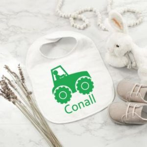 Tractor Personalised Bib designed by All Tied Up