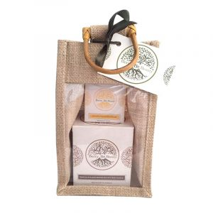 Vanilla & Black Pepper Essential Oil Candle and Lemongrass Hand Cream Gift Set designed by Berry Be Beauty