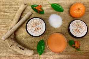 Berry Be Beauty Natural Body Care Orange Scent Aesthetic With Decorative Leaves and Sugar