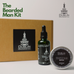 The bearded man kit containing scented beard balm and oil
