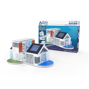 Blue and white modern house architect kit displayed infront of packaging against white background