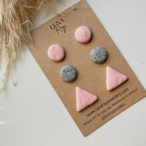 Cardboard pack of three pink and granite stud earrings