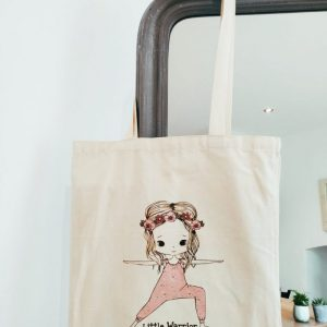 The Rosie Tote made with organic cotton and printed with the phrase Little Warrior