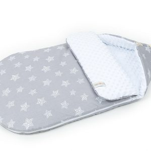 Grey and white baby snuggy for cars and buggies