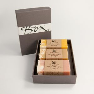 Raw soap bars in sustainable grey box