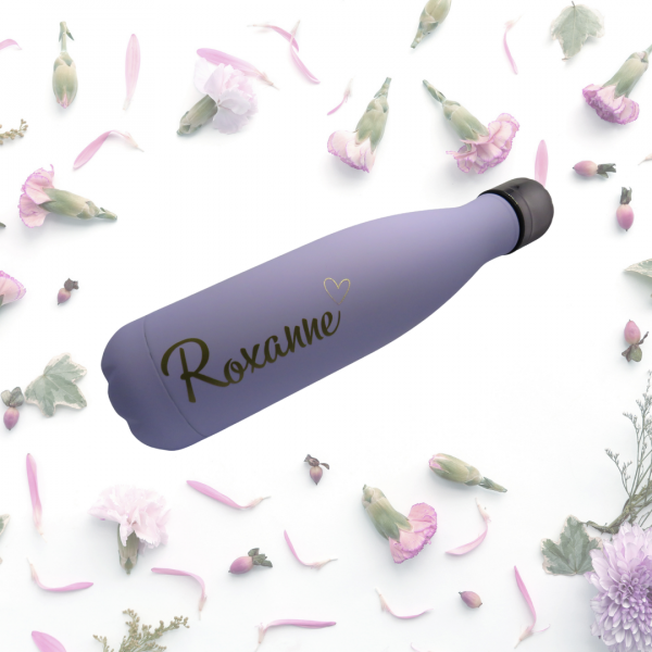 Lilac steel water bottle with flowers.