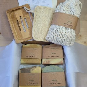 Natural bath set four soaps a towel and soap holder