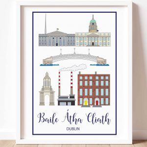 print of dublin landmarks with a white background