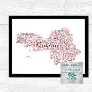 red galway county towns print in black frame