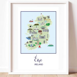 Map of Ireland print and a white background