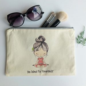 be kind to yourself lily with sunglasses and make up brushes