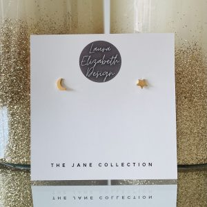 Gold Stud Earrings with mooon and star design