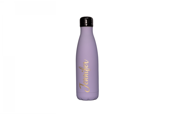 Lilac stainless steel water bottle.