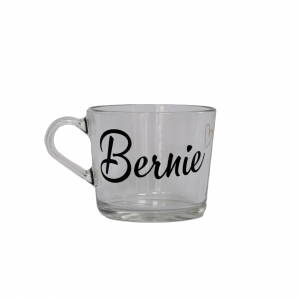 Tea or coffee mug with Bernie written on its front.