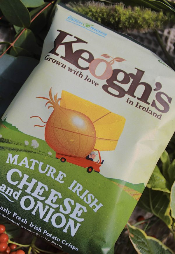 A bag of cheese and onion Keogh's crisps.