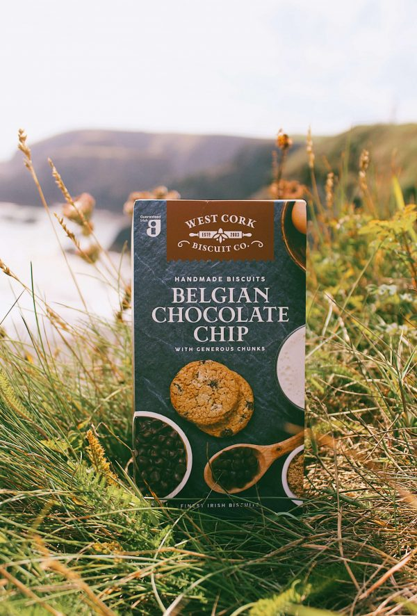 Belgian chocolate chip cookies photographed on a cliff.