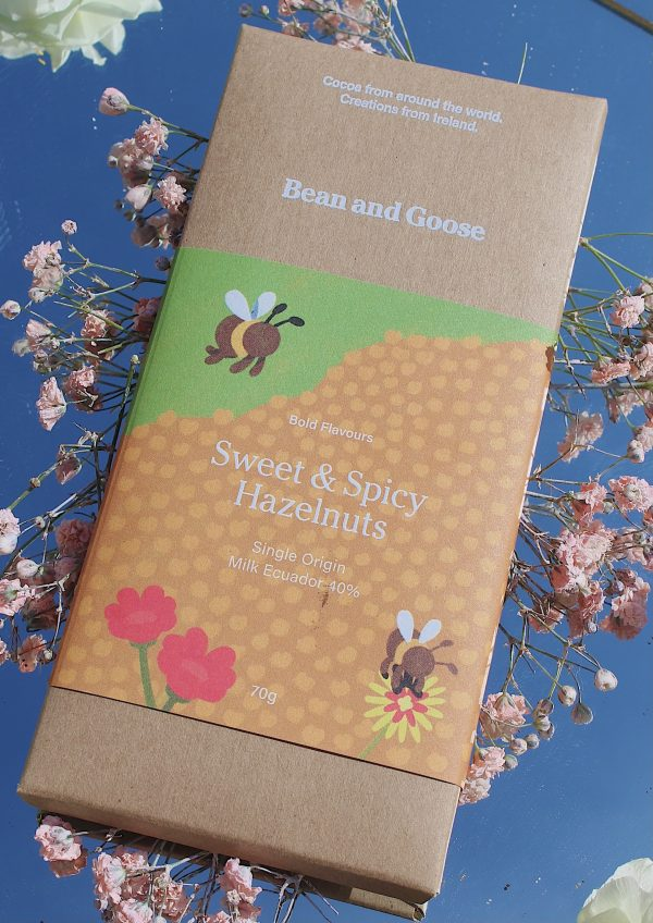 Sweet and spicy hazelnuts chocolate bar.