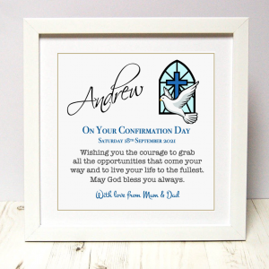Confirmation gift for boy As Cute as a Button Personalised Framed Prints