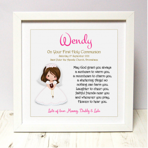 Communion gift for girl As Cute as a Button Personalised Framed Prints