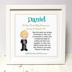 Communion gift for boy As Cute as a Button Personalised Framed Prints