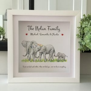 As Cute as a Button Personalised Framed Prints elephant family